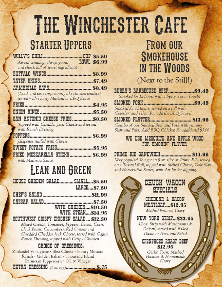 The Winchester Cafe menu begins here