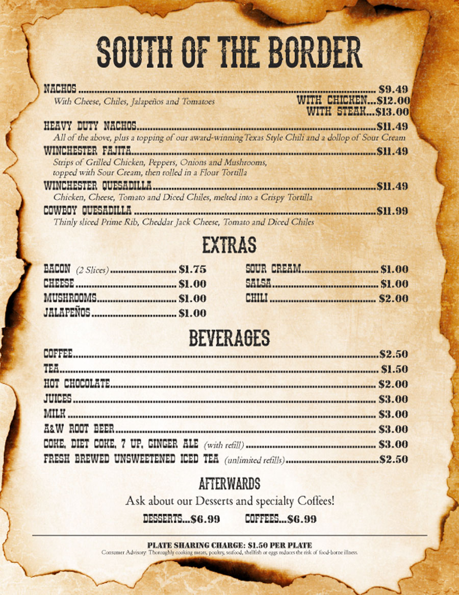 Tex Mex choices, side dishes and beverages on the menu - Winchester Cafe